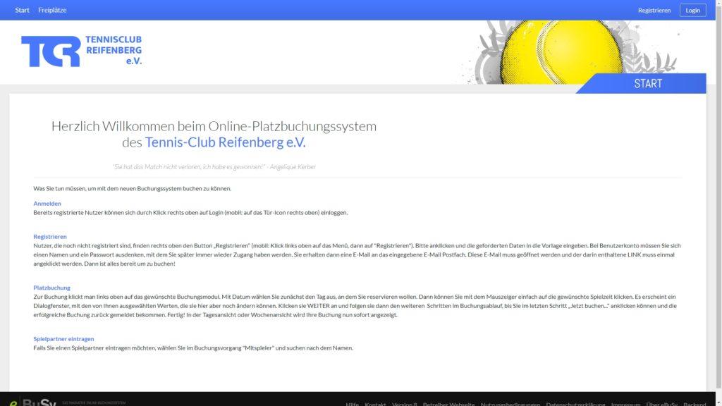 Online-Platzbuchungssystem des Tennisclub Reifenberg
